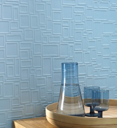 Wallpaper Designs Blue Squares Geometric Style Textured Embossed Wallpaper