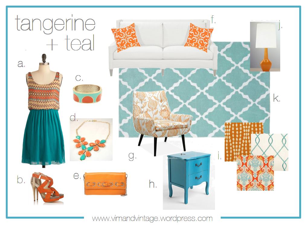 color story tangerine teal vim vintage design life style. Black Bedroom Furniture Sets. Home Design Ideas