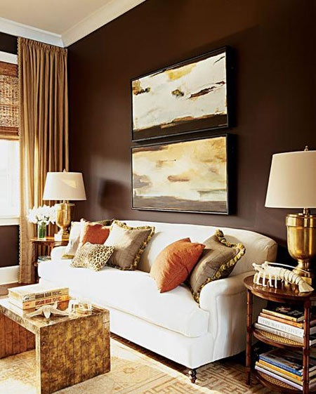 Gold brown living room