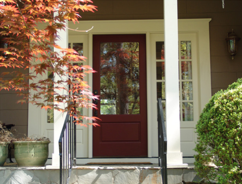 This red exterior door is welcoming yet sophisticatedPainting the