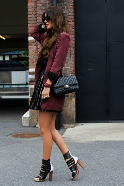 oxblood blazer and pleated skirt