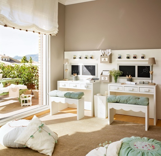 mint beige and white room