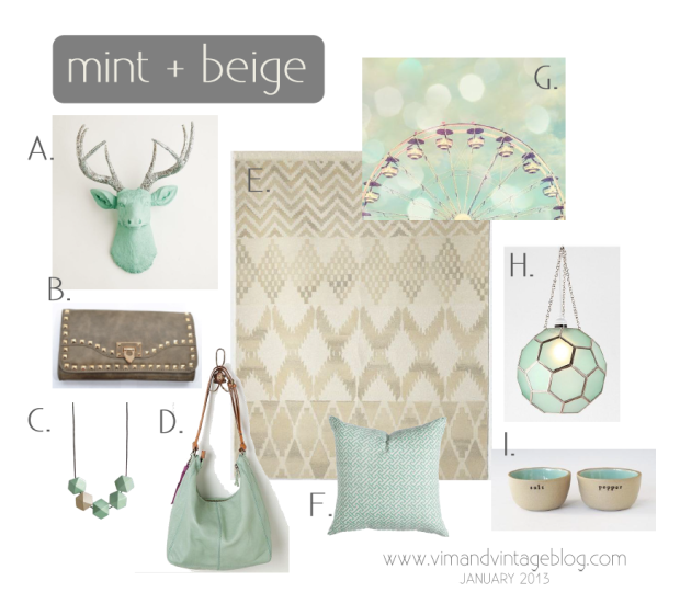 mint & beige inspiration board