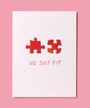 DIY puzzle pieces valentines day card