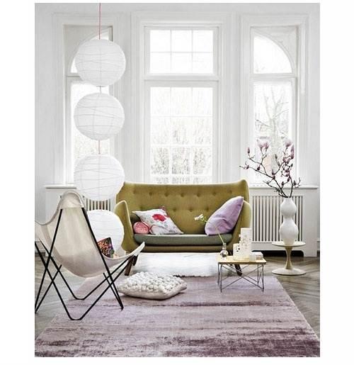 plum and chartruese living room