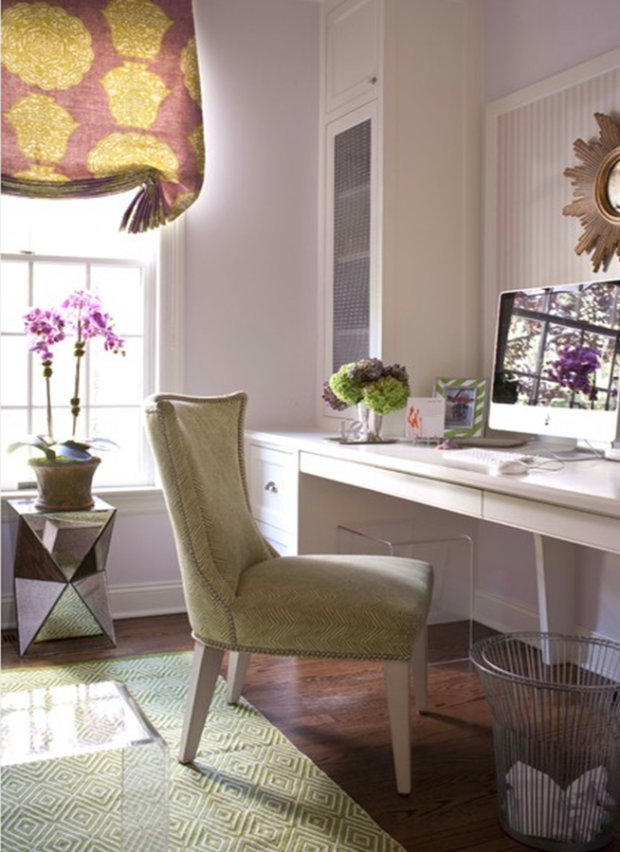 plum and green home office