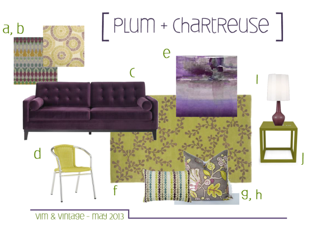 plum and chartreuse inspiration board