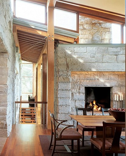 rustic modern fireplace and dining