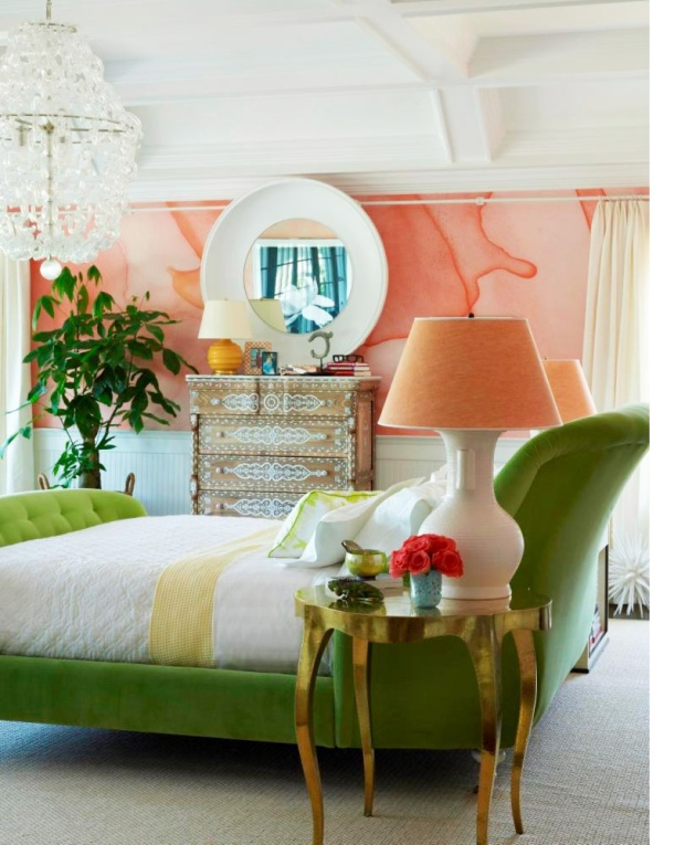 melon-peach-green-chic-bedroom-aquarelle-wallpaper