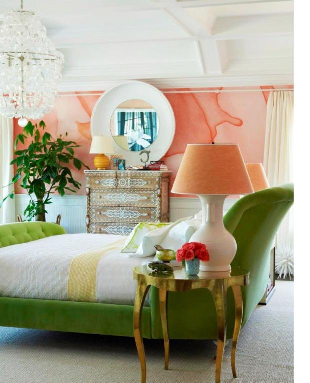 melon-peach-green-chic-bedroom-aquarelle-wallpaper