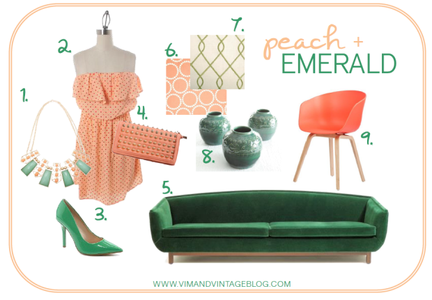 peach and emerald inspiration board