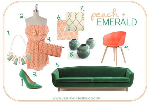 peach and emerald inspiration board
