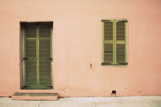 Peach Wall Green Door
