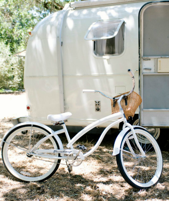 vintage airstream and bike