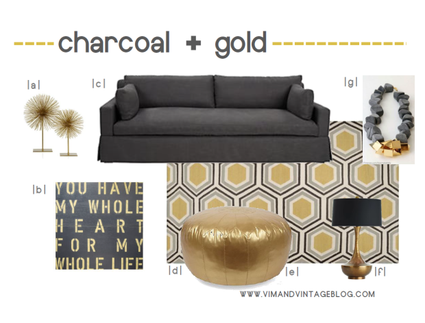 charcoal and gold inspiration board