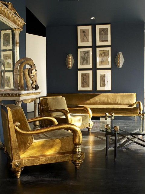 charcoal and gold room