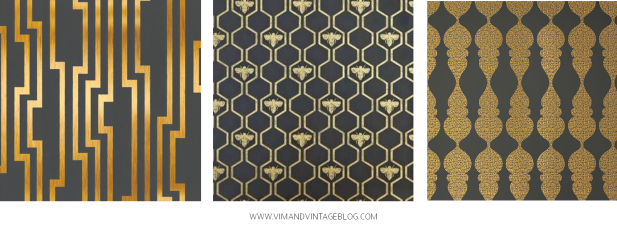 charcoal and gold wallcoverings!