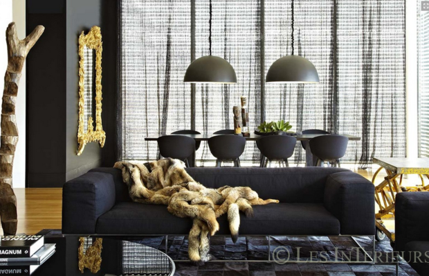charcoal & gold living area