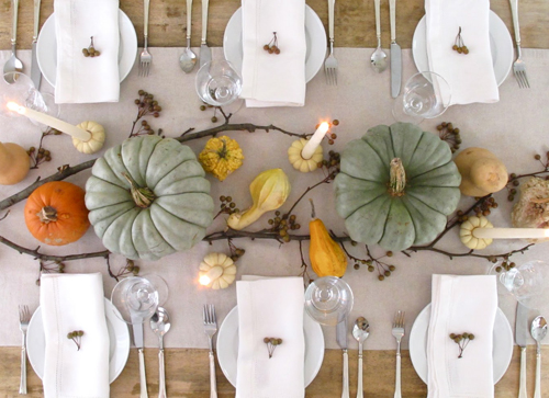 Colorful Pumpkin Table Setting