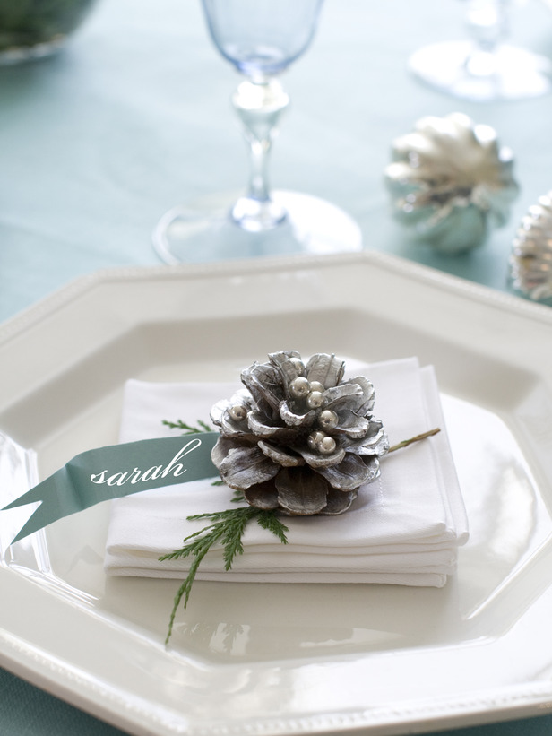 Glitter Pinecone Place Card