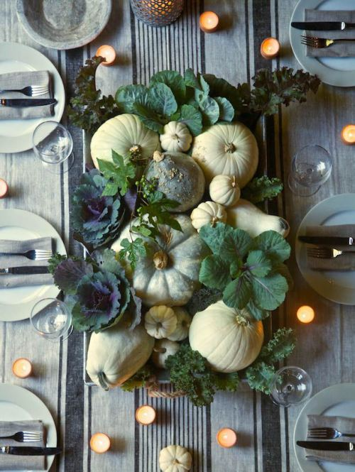Pumpkins and Greenery Table Setting