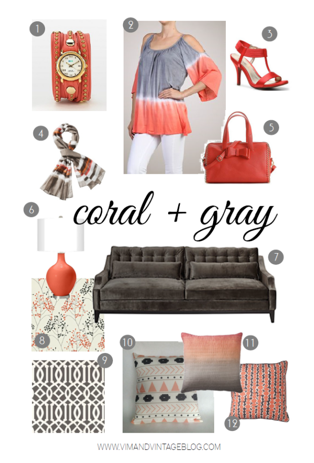 coral and gray color board