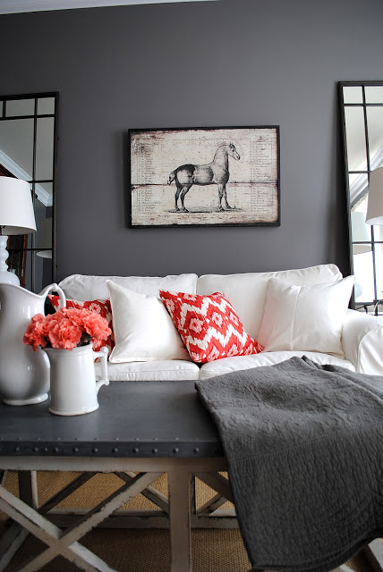 Coral & Gray Living Room - The Graphics Fairy
