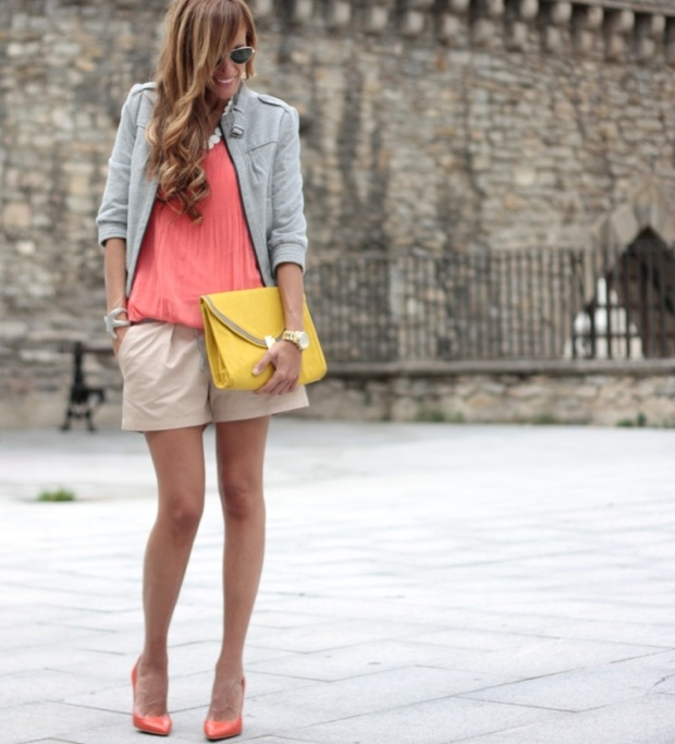 coral gray & yellow outfit