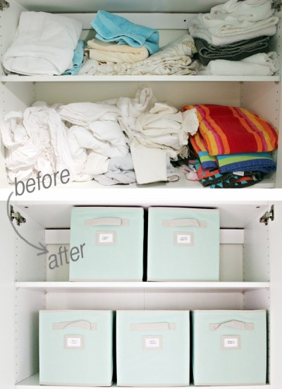 before and after - using bins to organize