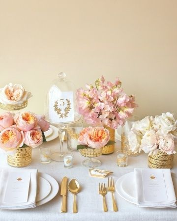 blush and gold event decor