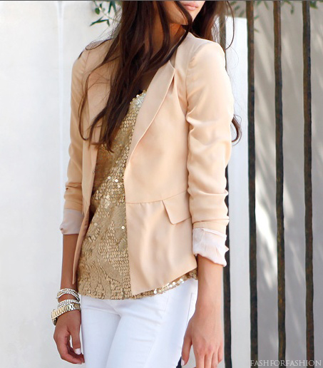 blush blazer with gold top