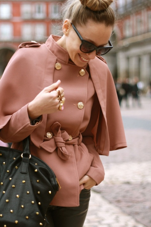 blush coat with gold buttons