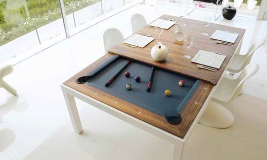 dining table that turns into a pool table...great for small spaces!