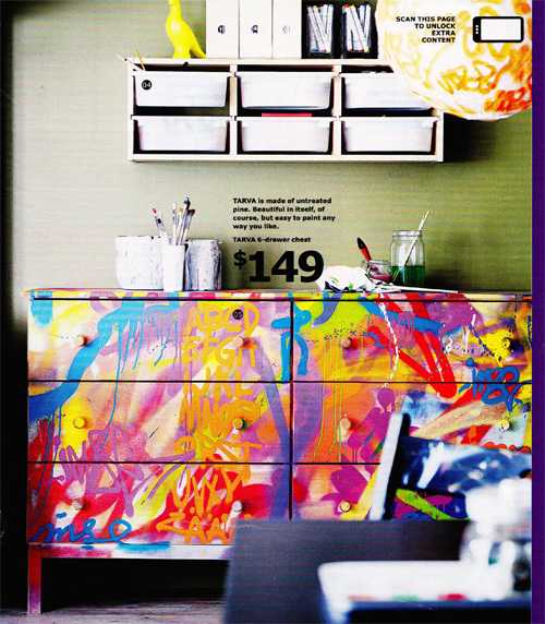 IKEA graffiti painted dresser