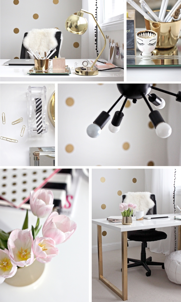 pink and gold office design