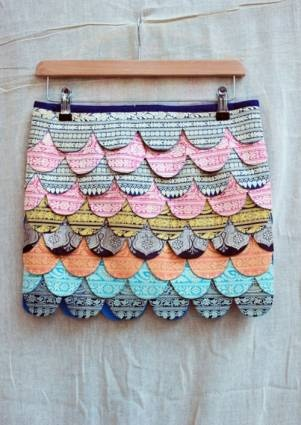 colorful scalloped skirt