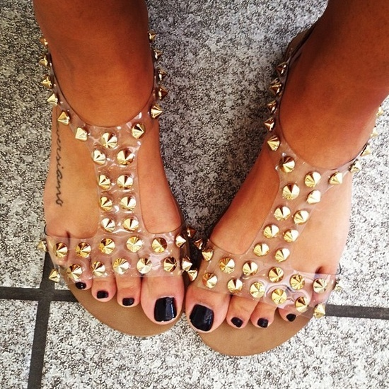 studded clear jelly sandles