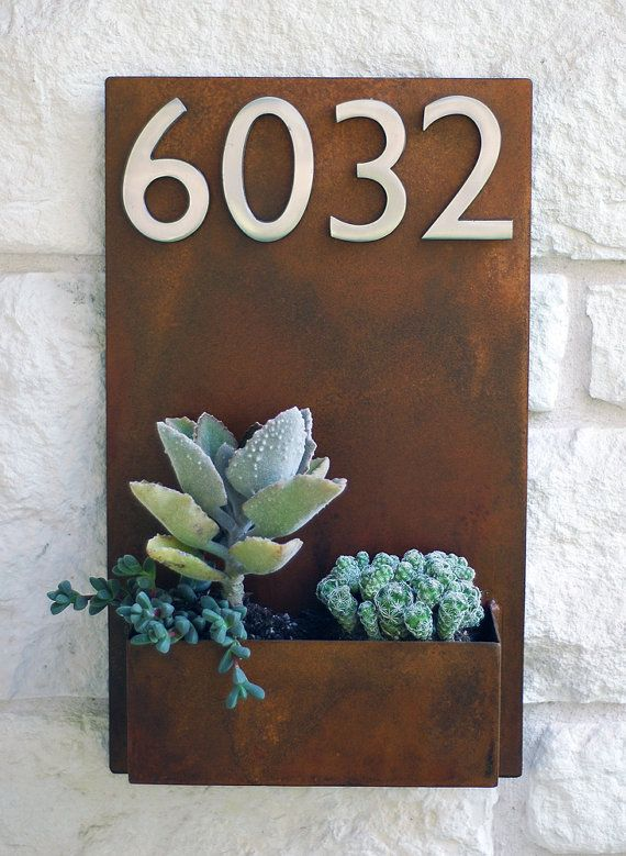UrbanMettle Vertical Planter with House Numbers (on Etsy)