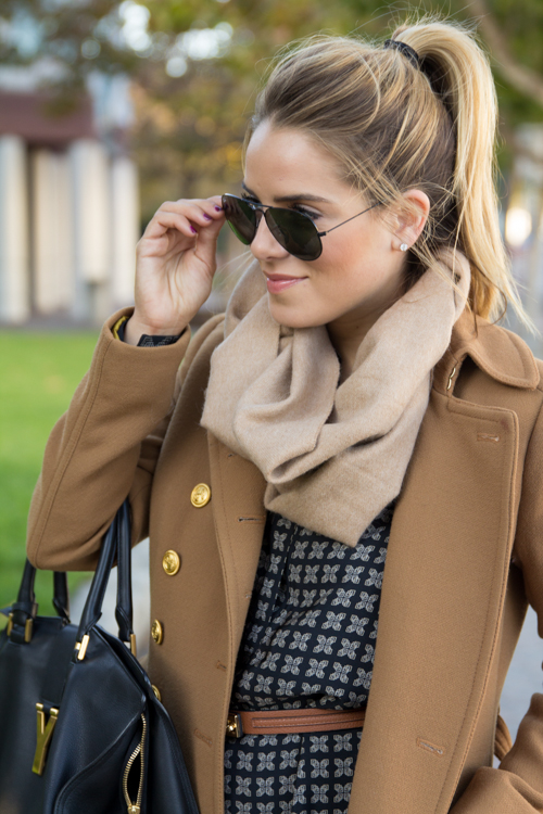 camel coat + navy shirt