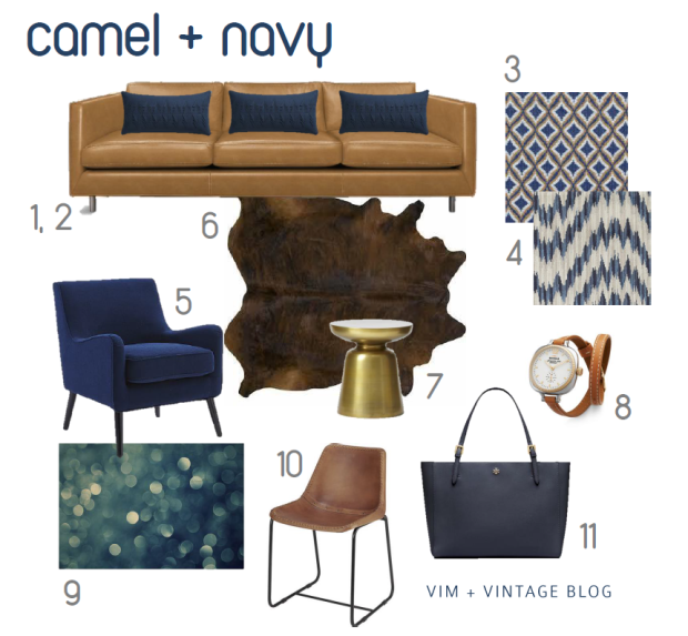 camel + navy inspiration color board