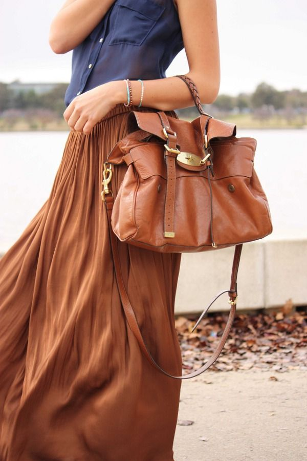 camel skirt + navy top