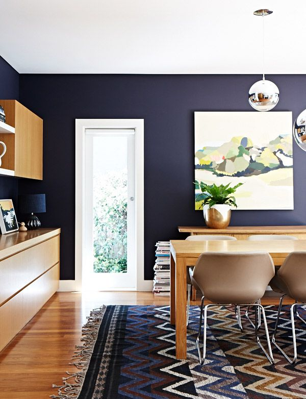 fun navy dining room
