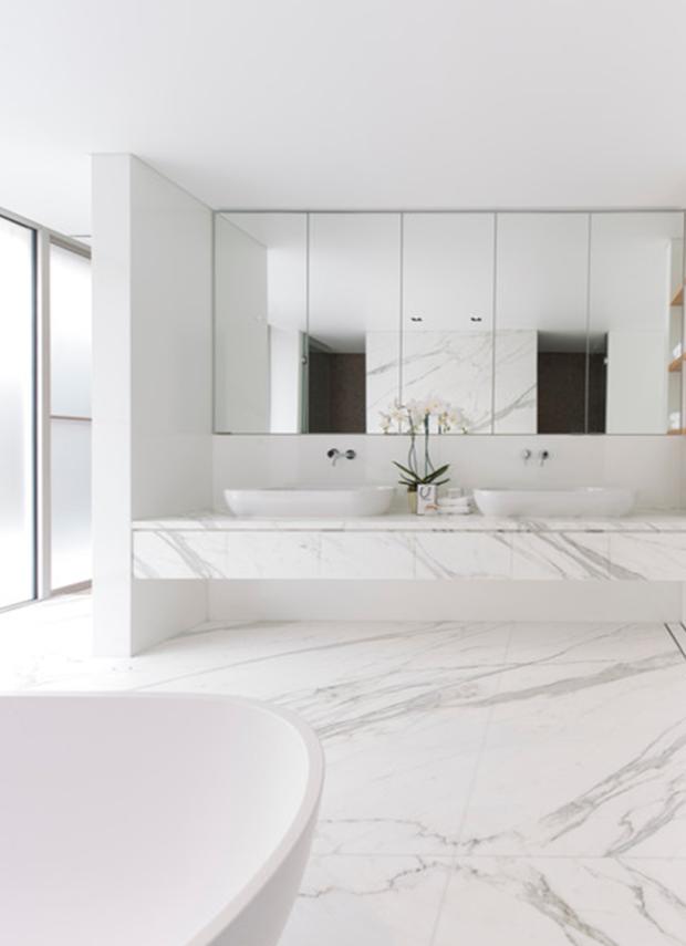 custom calacatta marble bath
