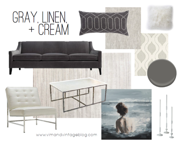 color story - gray, linen, and cream color inspiration board - vim & vintage blog