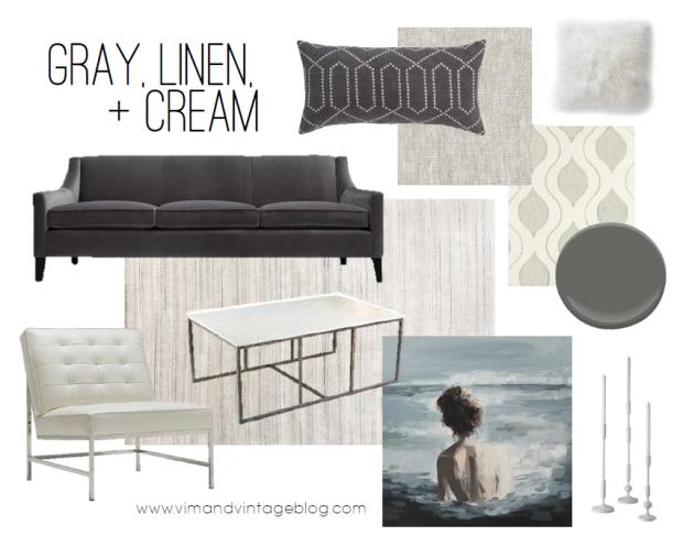 color story - gray, linen, and cream color inspiration board - vim & vintage blog