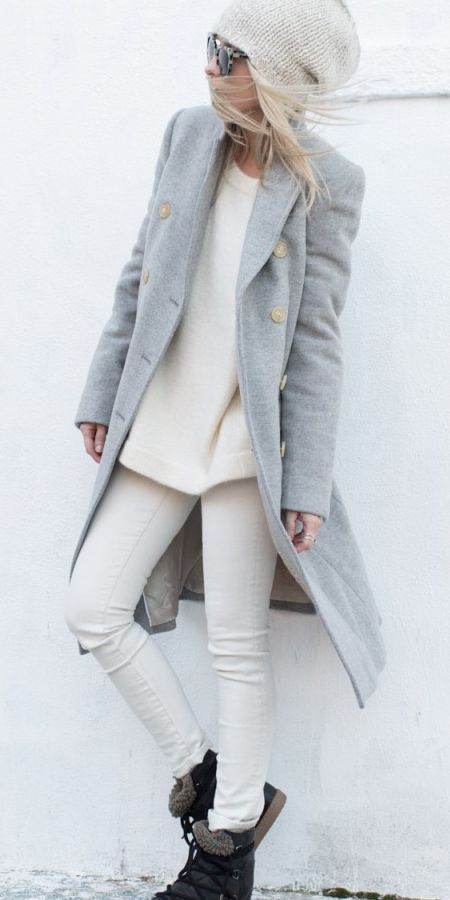 gray coat + cream sweater