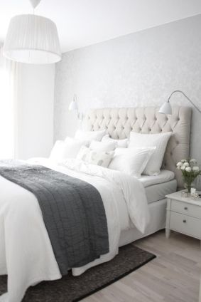 gray linen and white bedroom