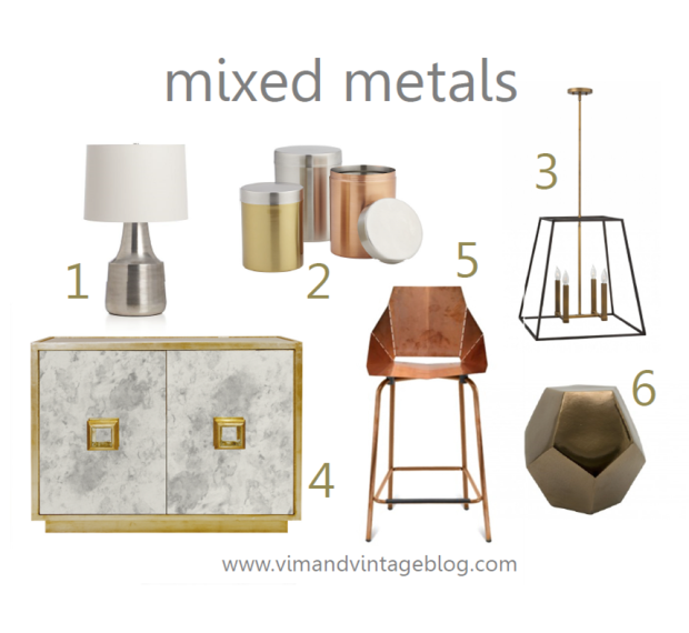 mixed metals inspiration board - Vim & Vintage Blog