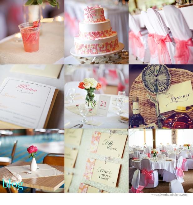 coral, tangerine, & champagne wedding details