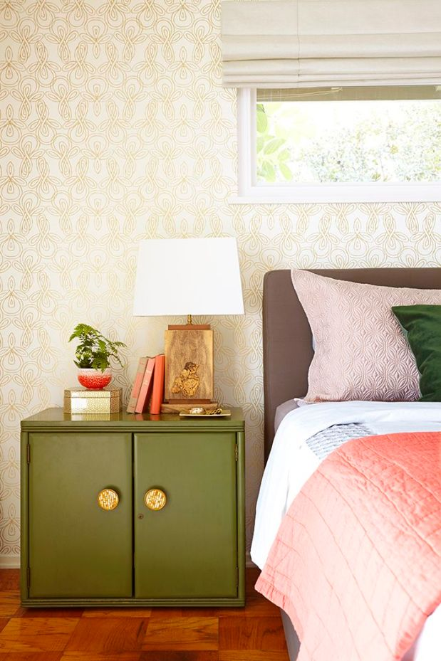 Emily Henderson Bedroom - green, coral, gold.